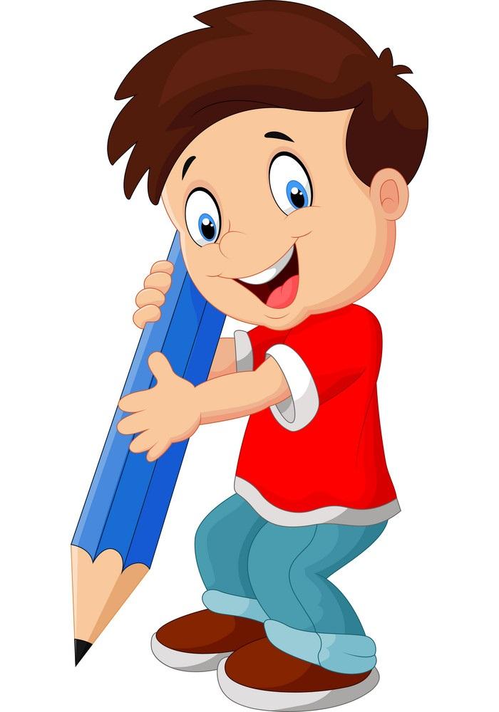 little boy holding blue pencil