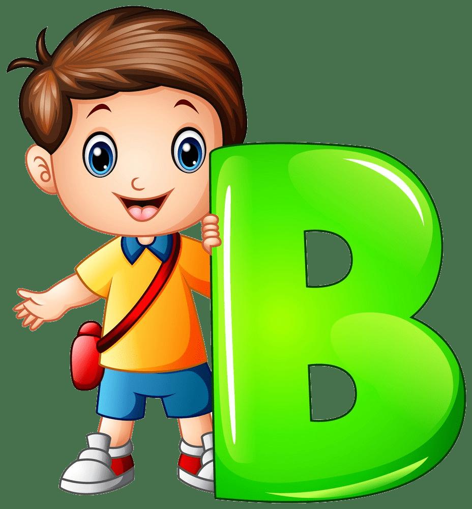 little boy holding letter b png transparent