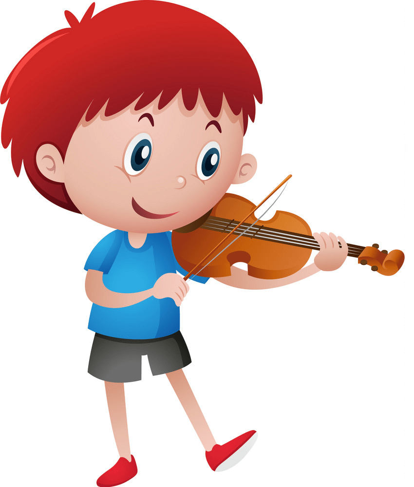 little boy playing violin png