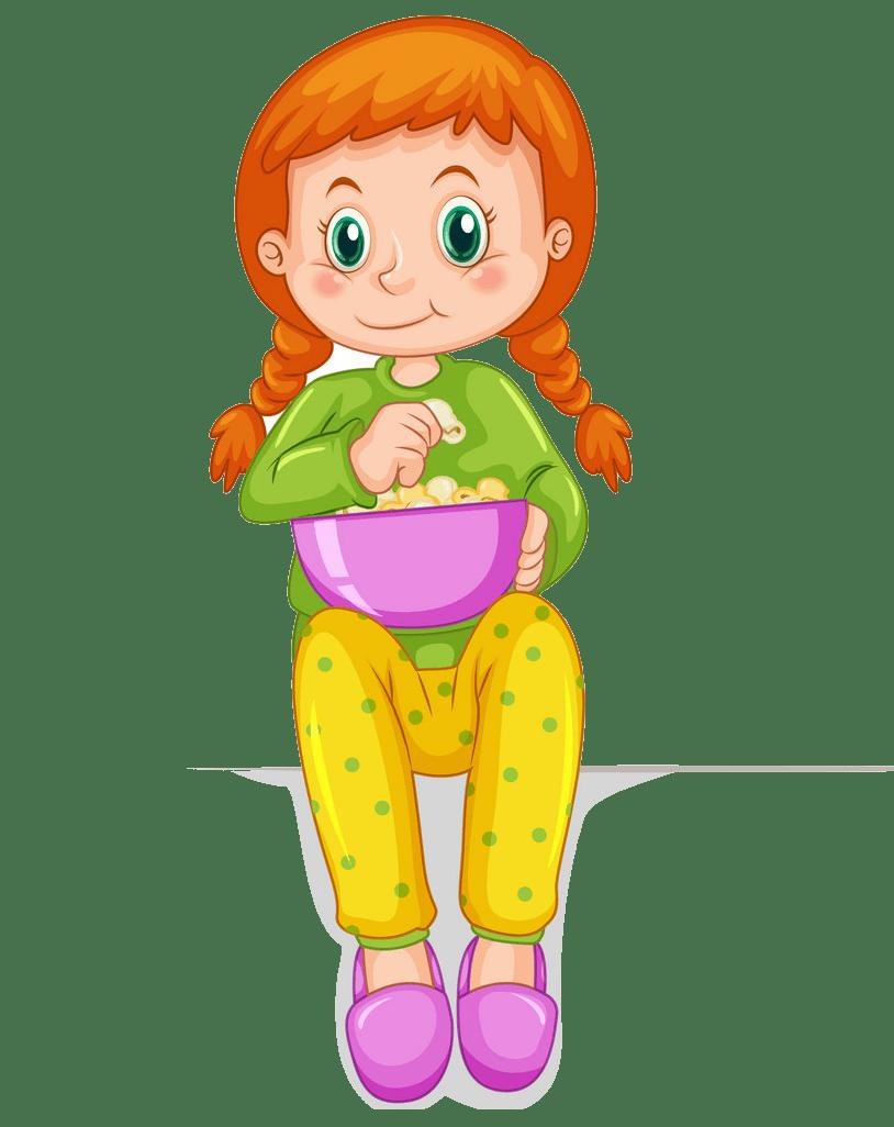 little girl eating popcorn png transparent