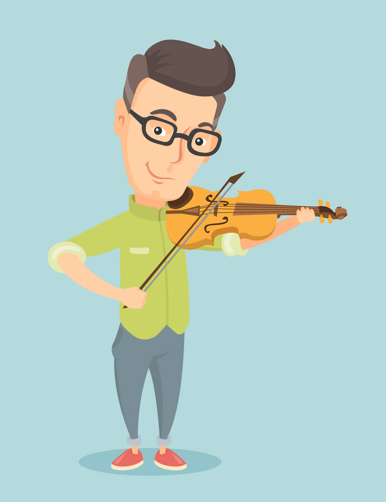 man playing violin on blue background png