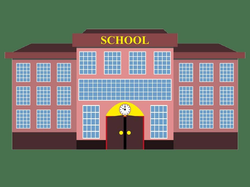 modern school building flat design png trasnparent