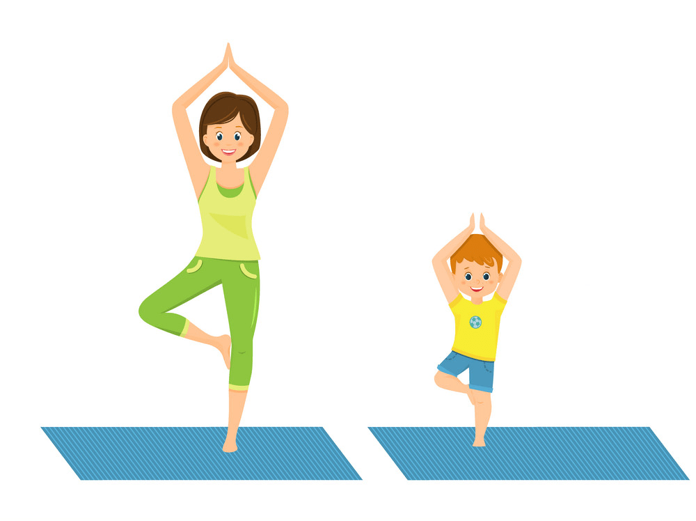 mom and son doing yoga png