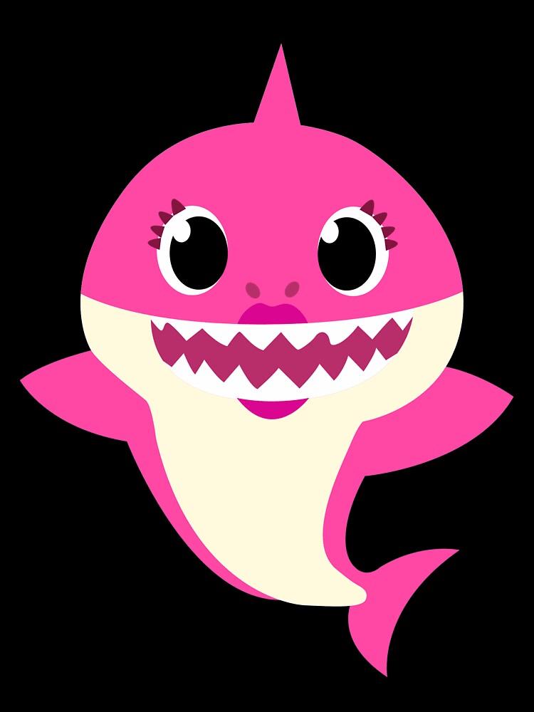 mommy shark on black background png