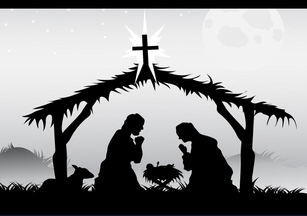 nativity scene in black png