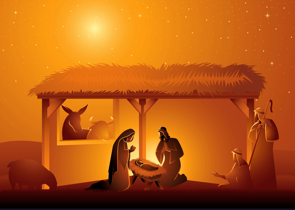 nativity scene the holy family in stable png