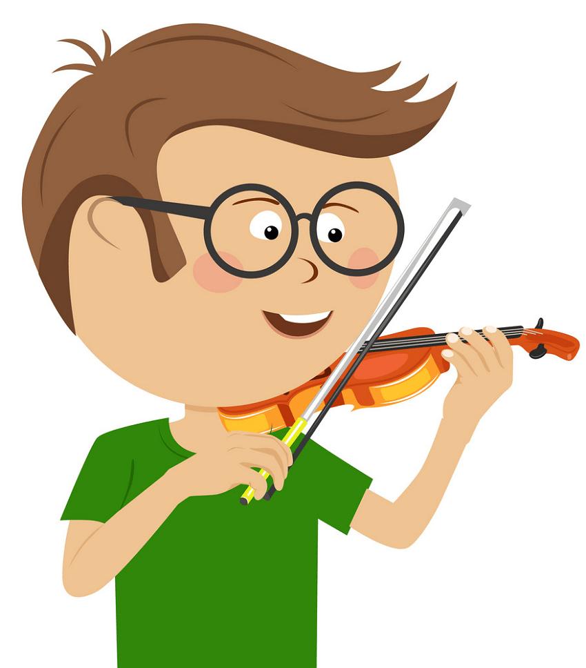 nerd boy playing violin png