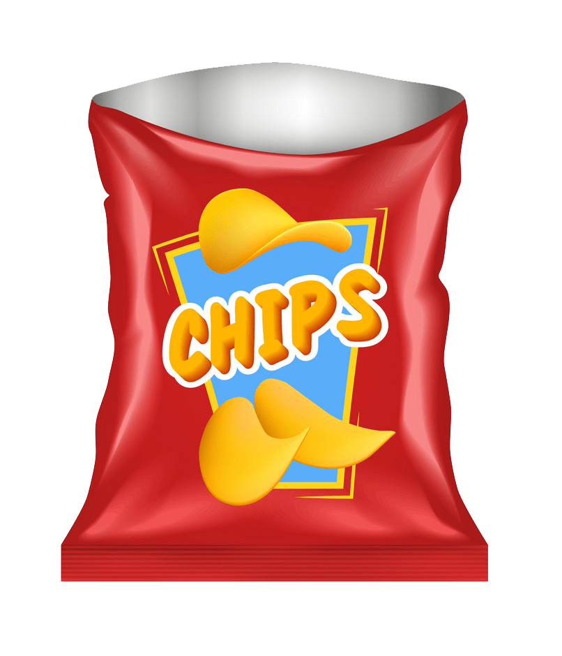open chips snack package transparent