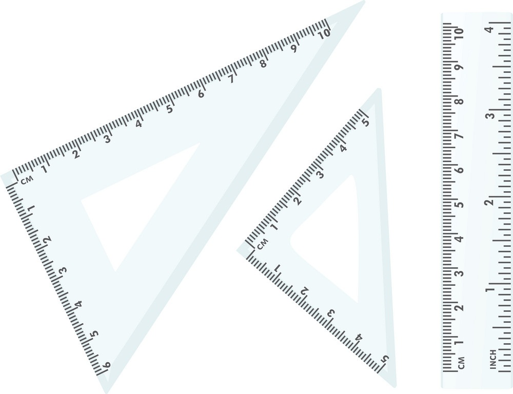 plastic school triangle and ruler