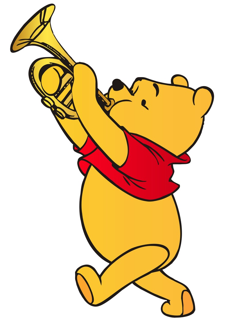 pooh playing trumpet