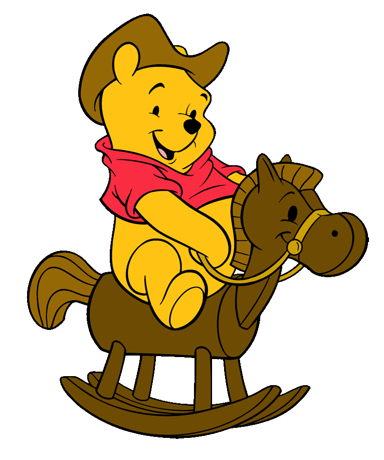 pooh riding wooden pony
