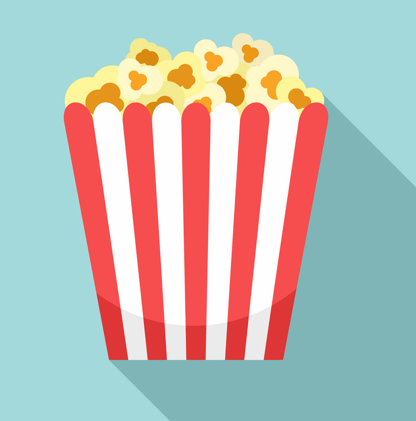 popcorn bag icon on blue background png