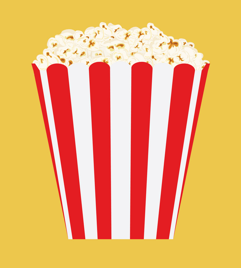 popcorn on yellow background png