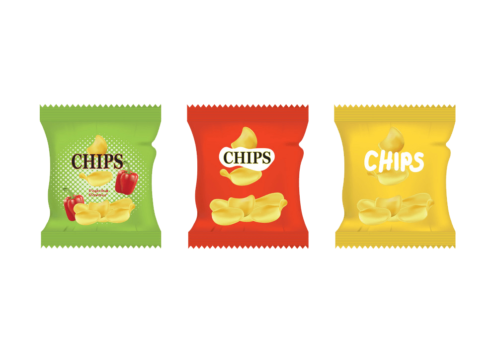 potato chips snack bags transparent