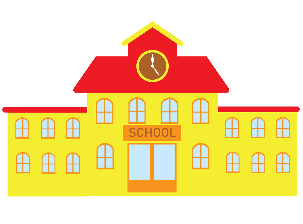 red and yellow school building png trasnparent