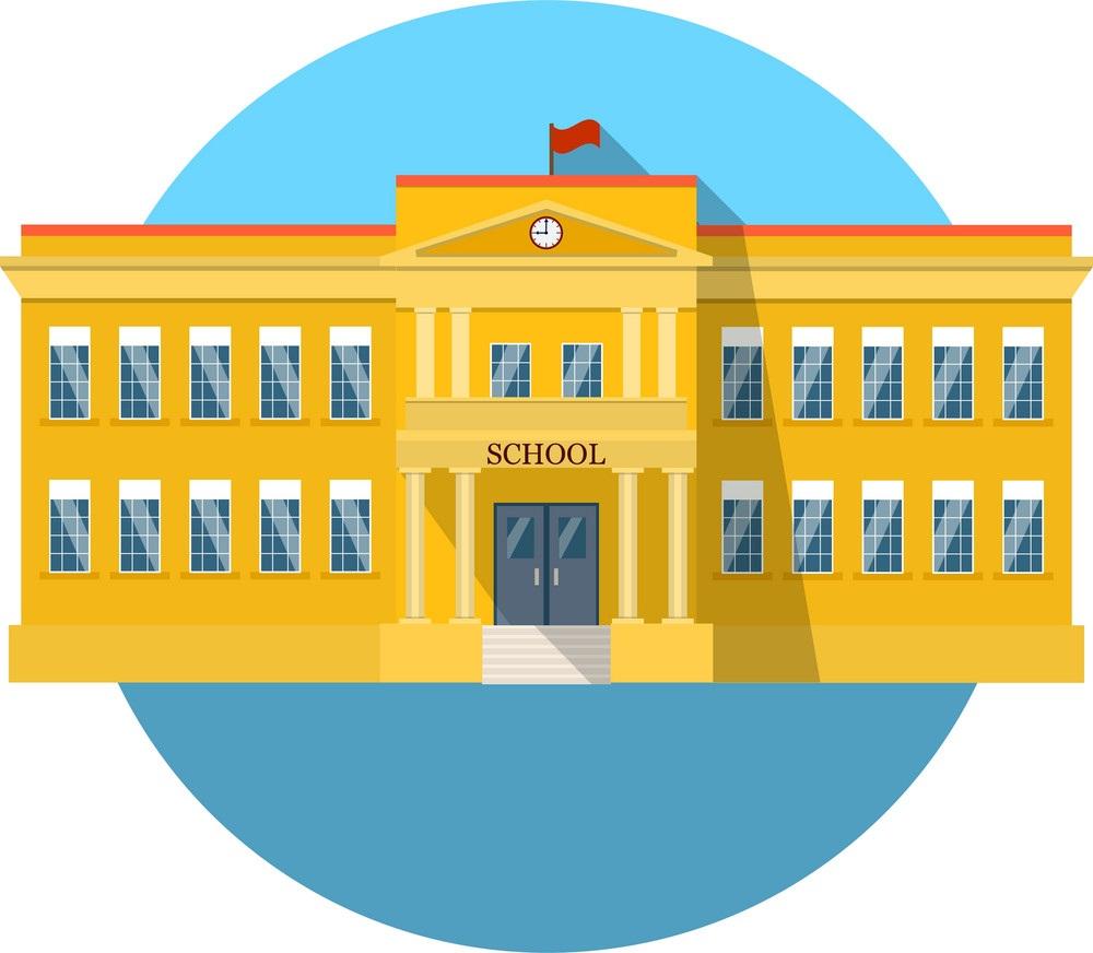 school building flat icon