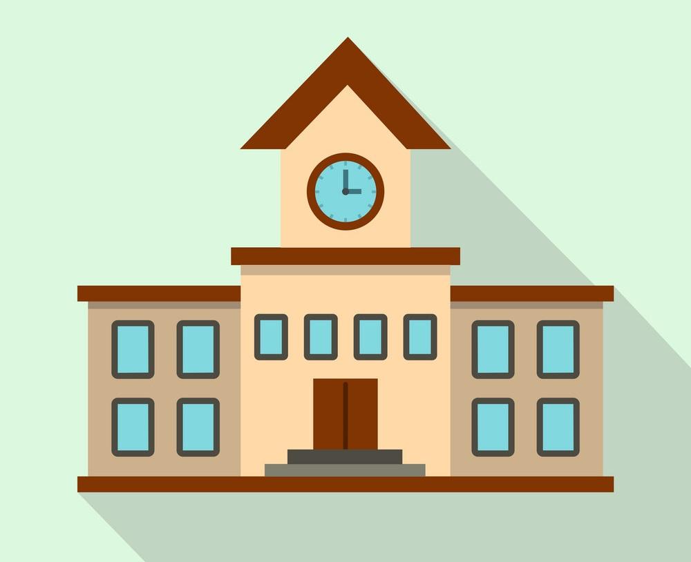 school building icon flat style
