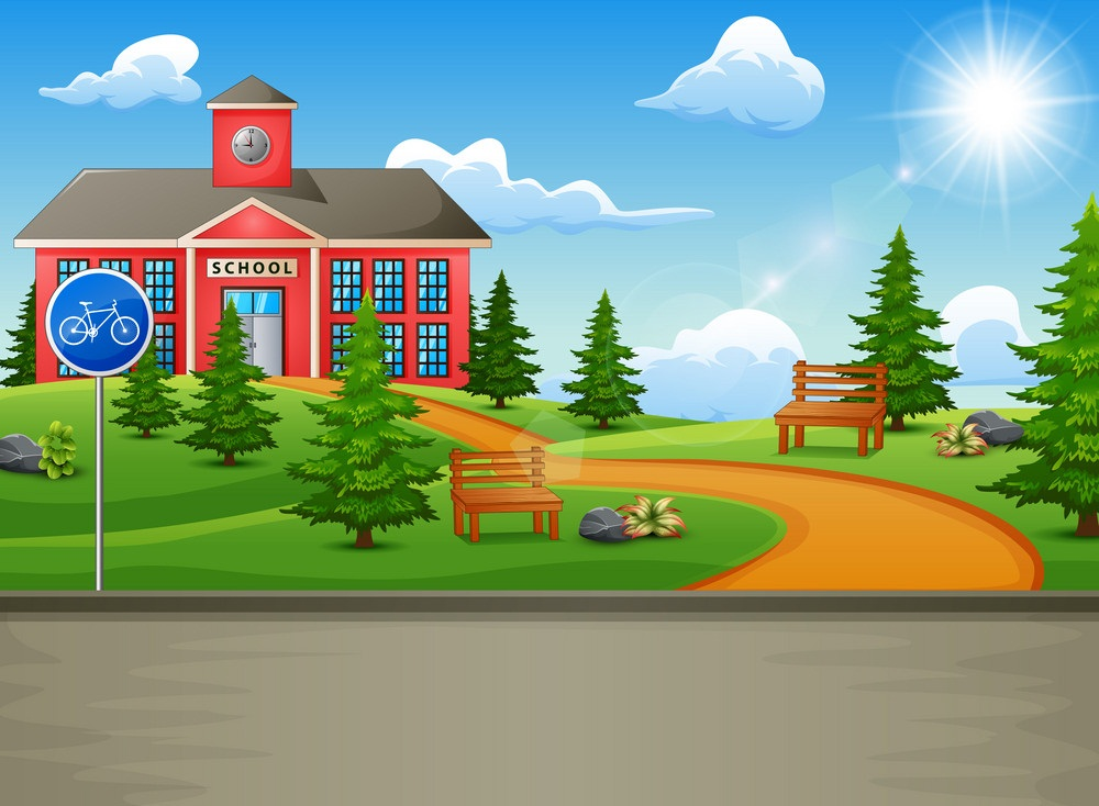 school building with a beautiful nature