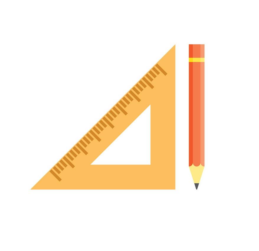 school triangular ruler and yellow pencil
