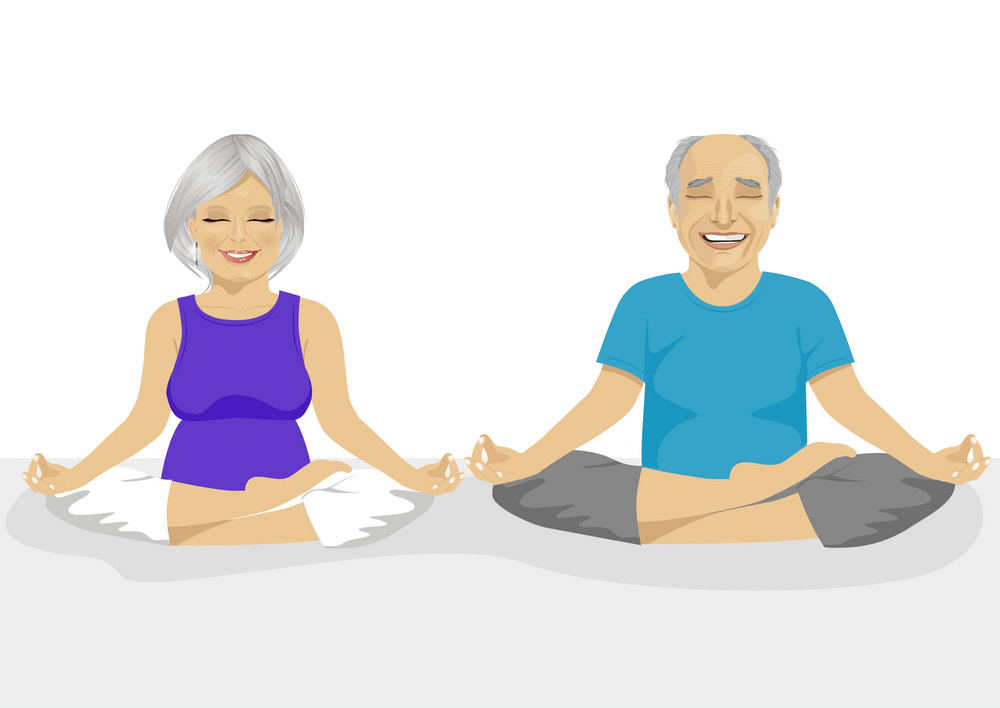 senior couple doing yoga png