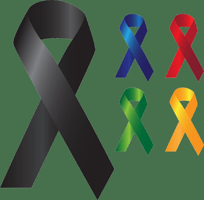 set of cancer ribbons png transparent