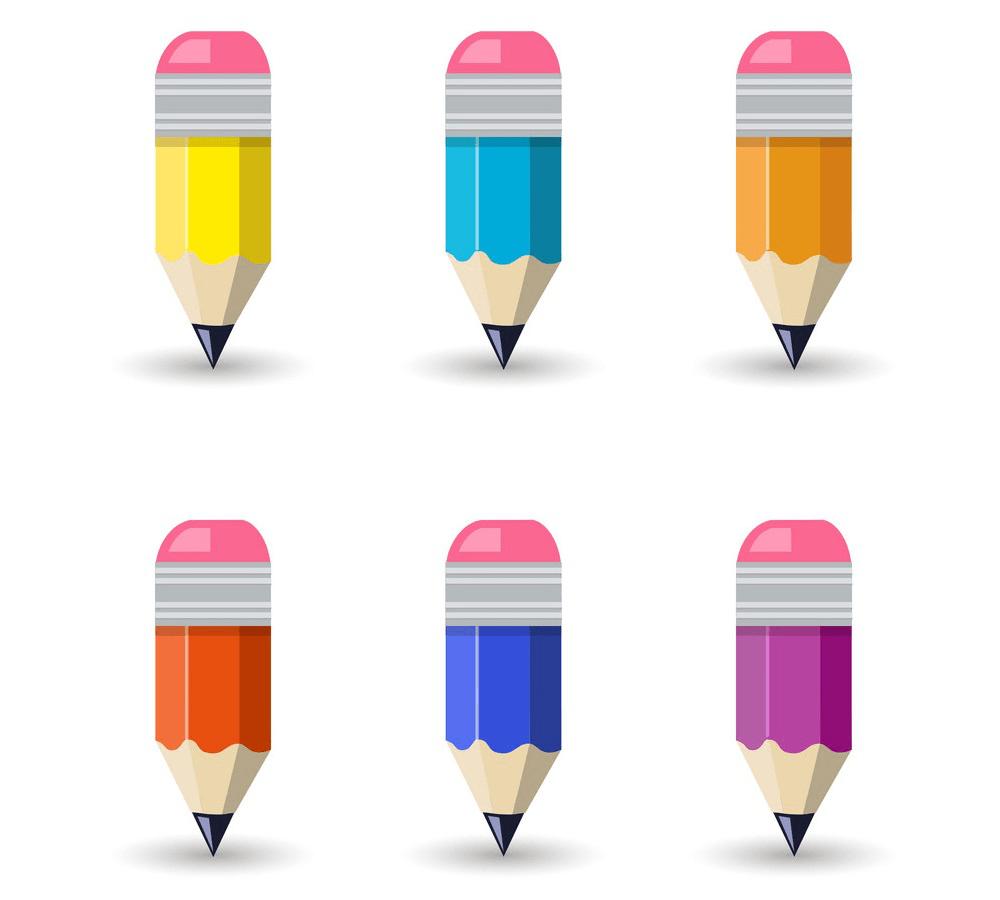 set of cute pencils png
