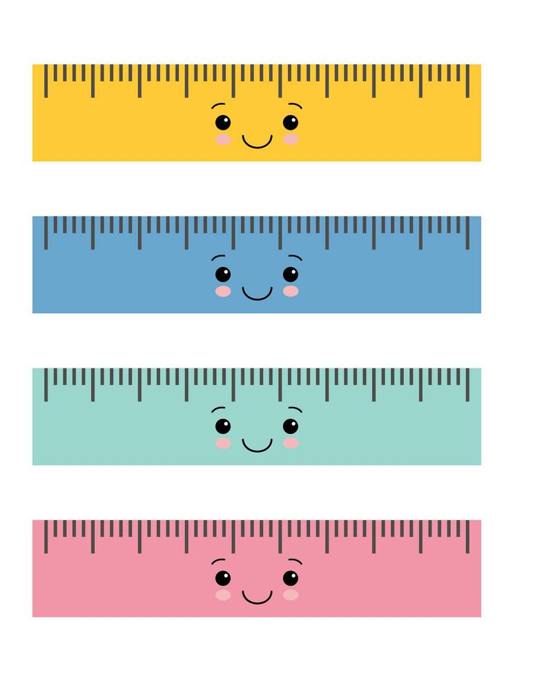 set of kawaii rulers png