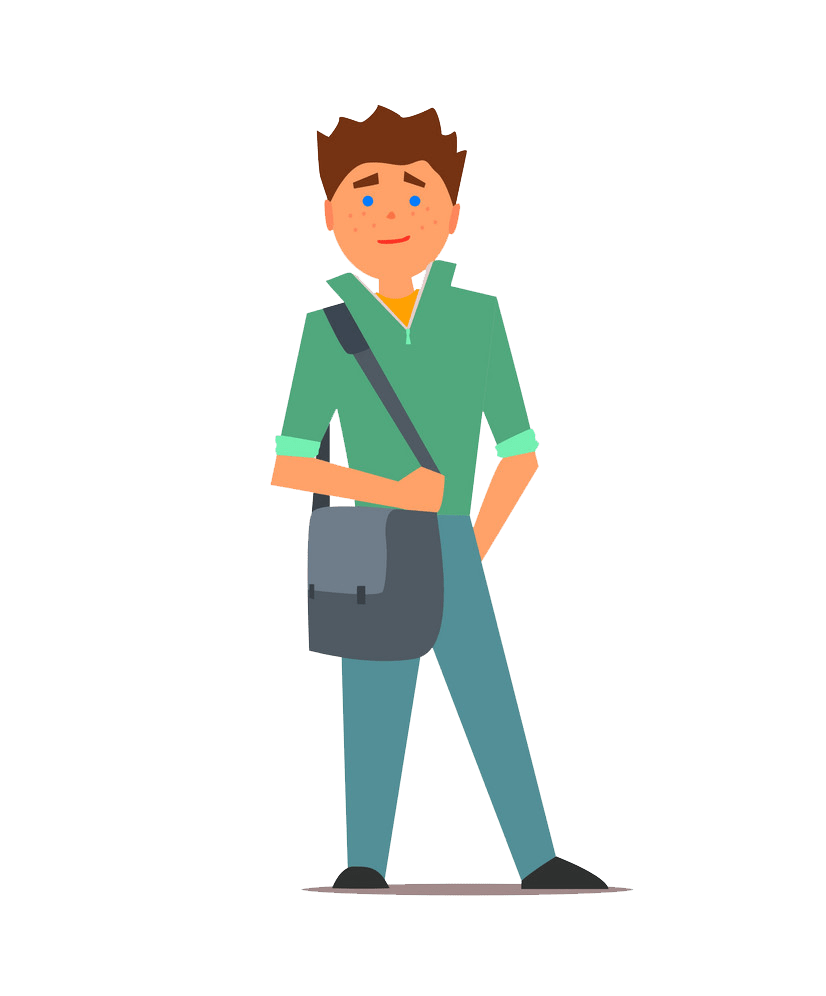 student in a green shirt png transparent