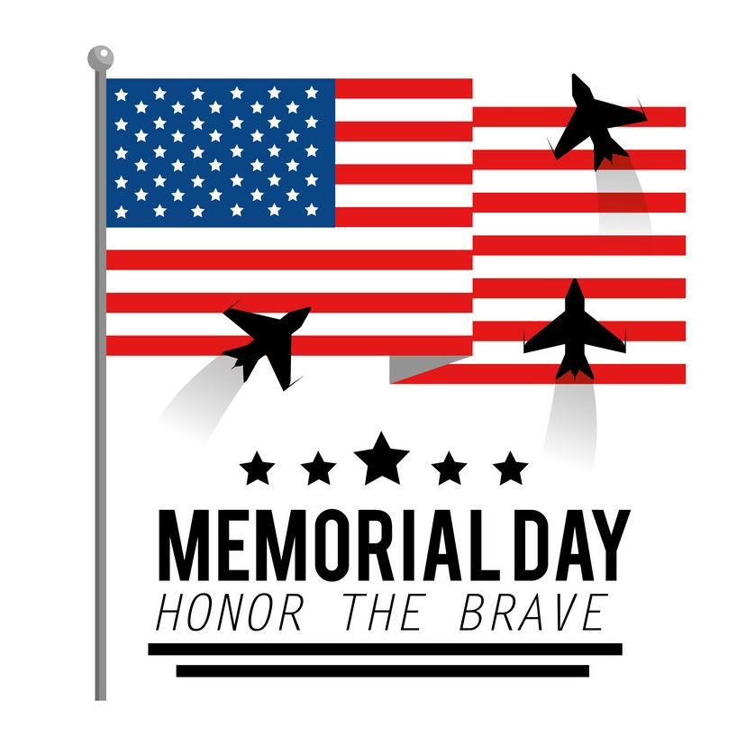usa flag with airplanes to memorial day
