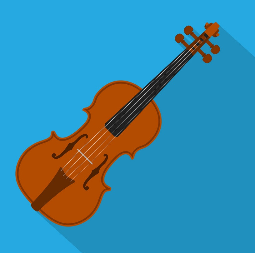 violin icon on blue background