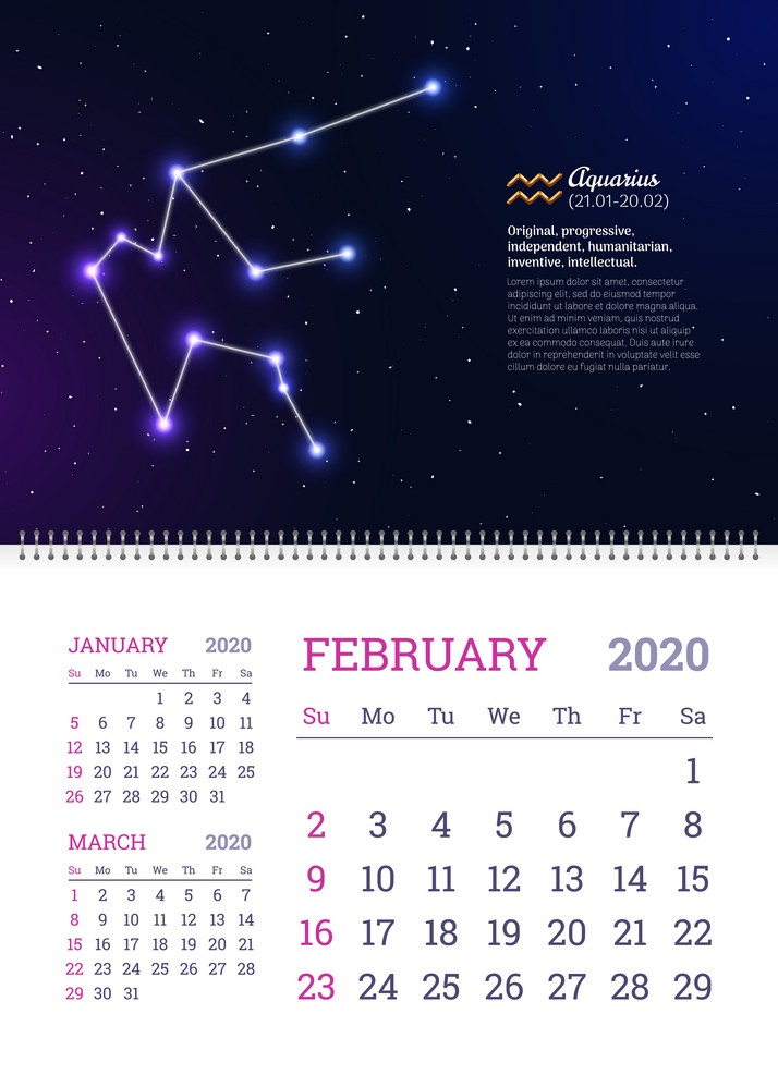 wall calendar for february 2020 year