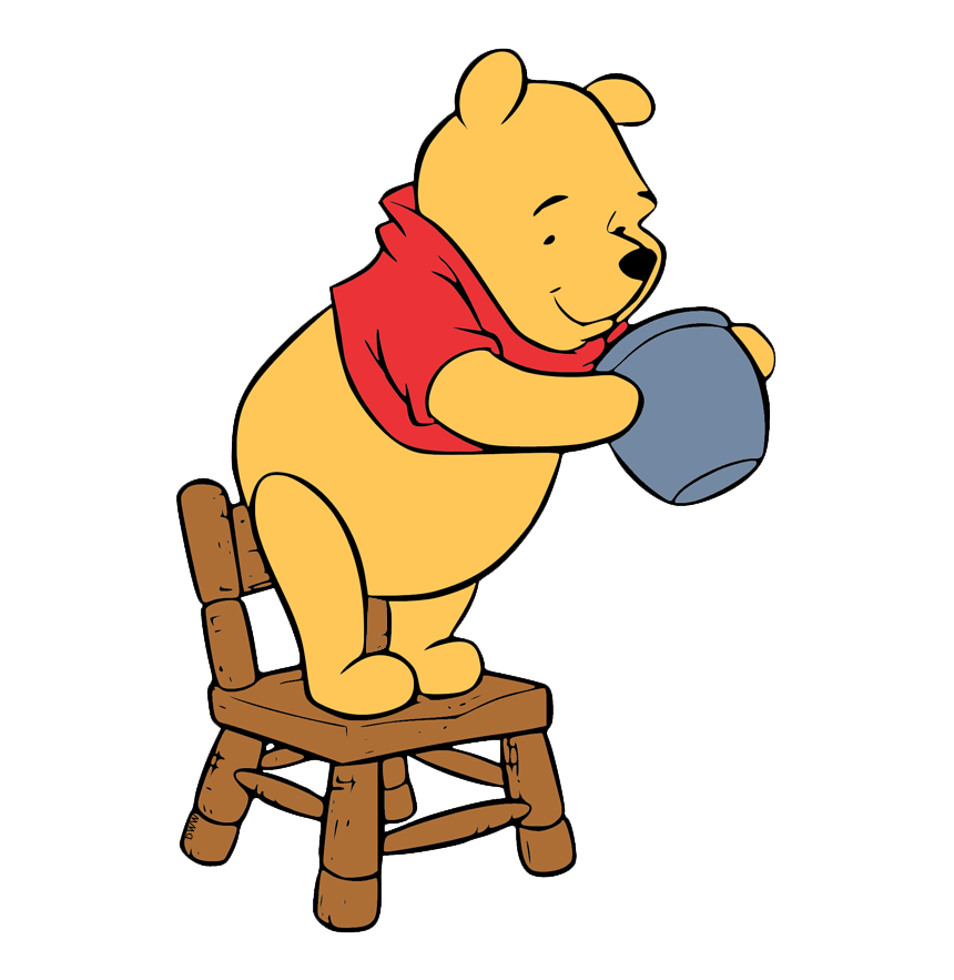 winnie the pooh standing on a chair transparent