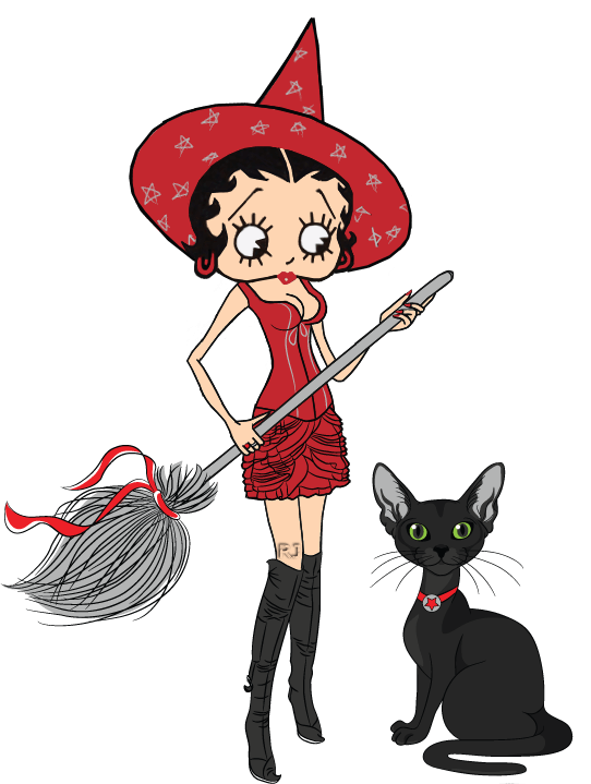witch betty boop and black cat transparent