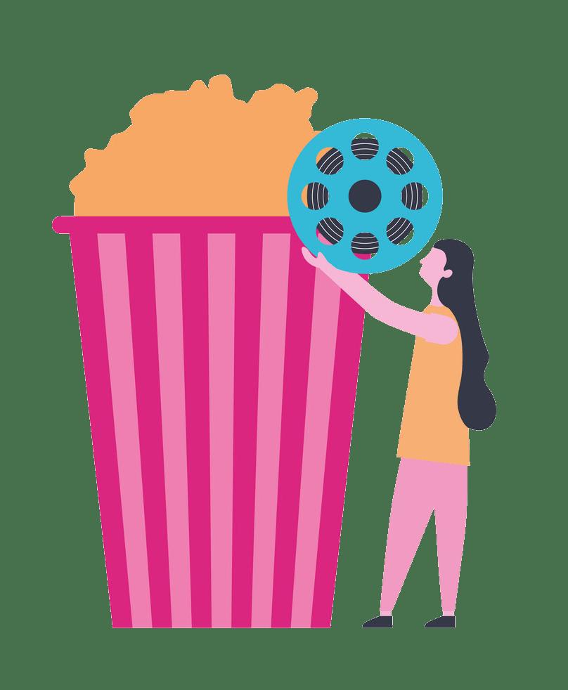 woman with reel strip cinema popcorn png transparent