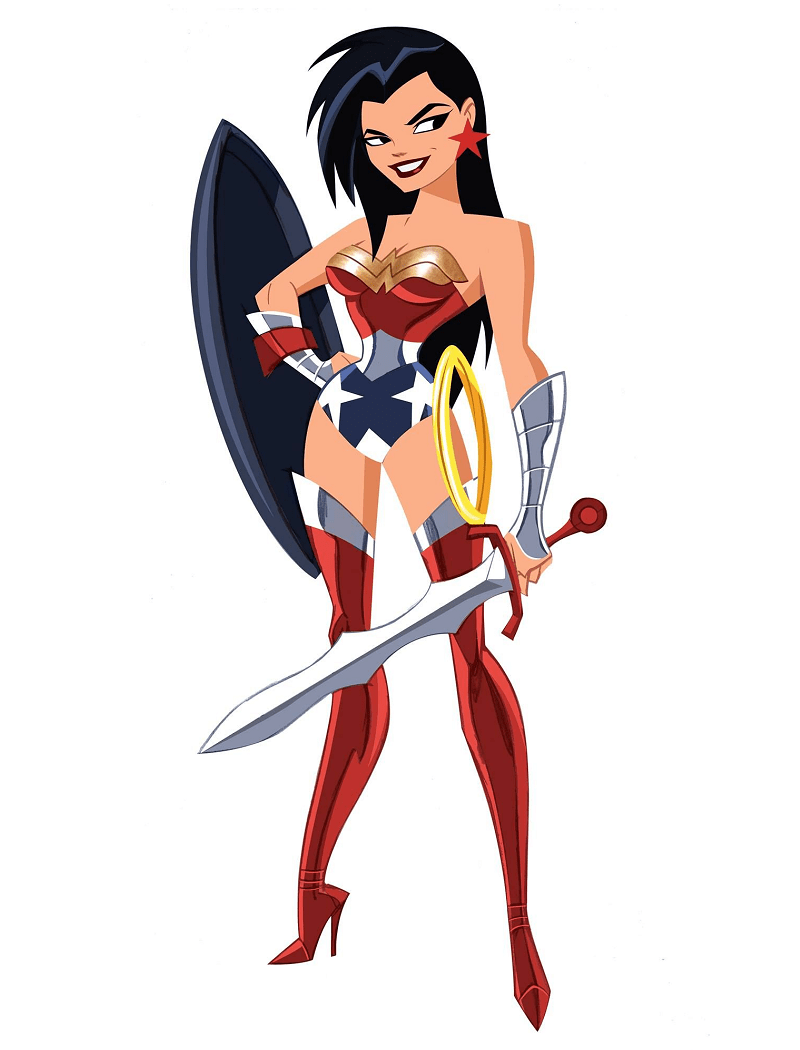 wonder woman with sword and shield png
