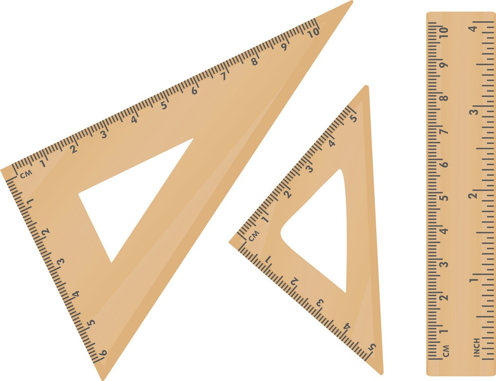 wooden school triangle and ruler
