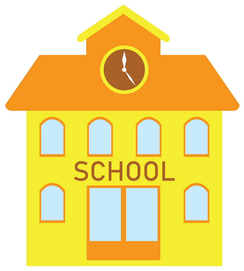 yellow school building png trasnparent