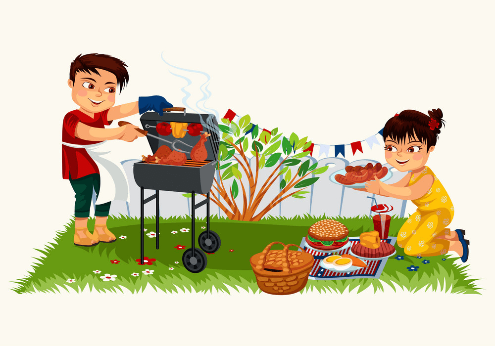 young man cooking on bbq png