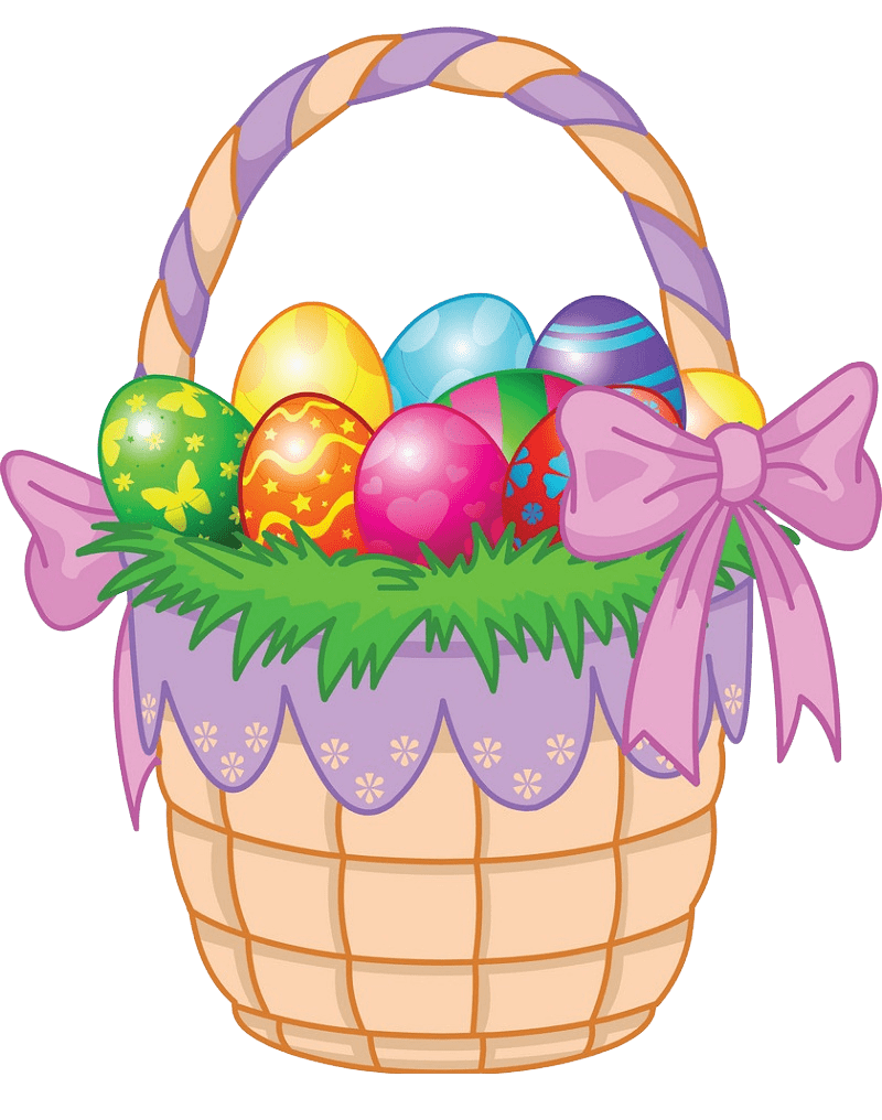 Basket with Easter Eggs clipart transparent