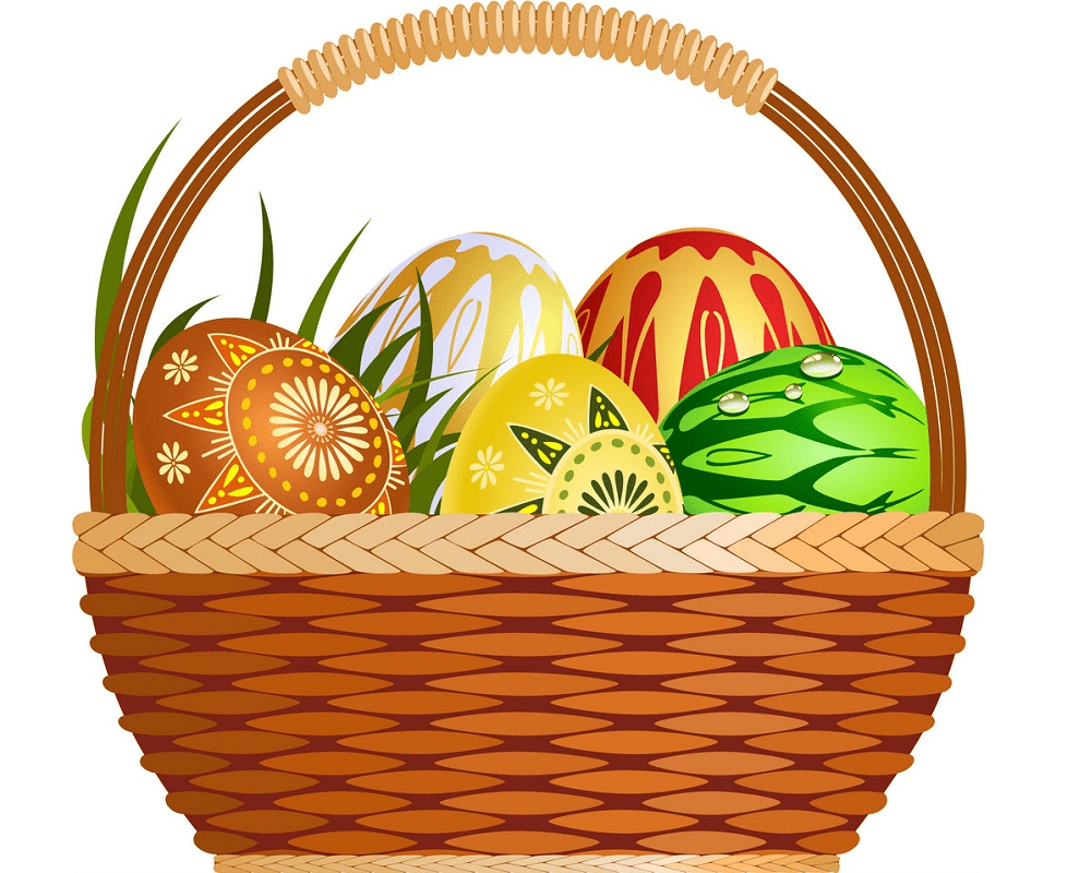 Basket with Easter Eggs clipart