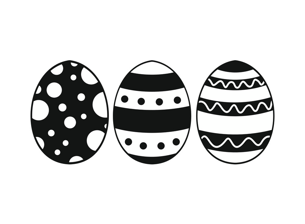 Black and White Easter Eggs png
