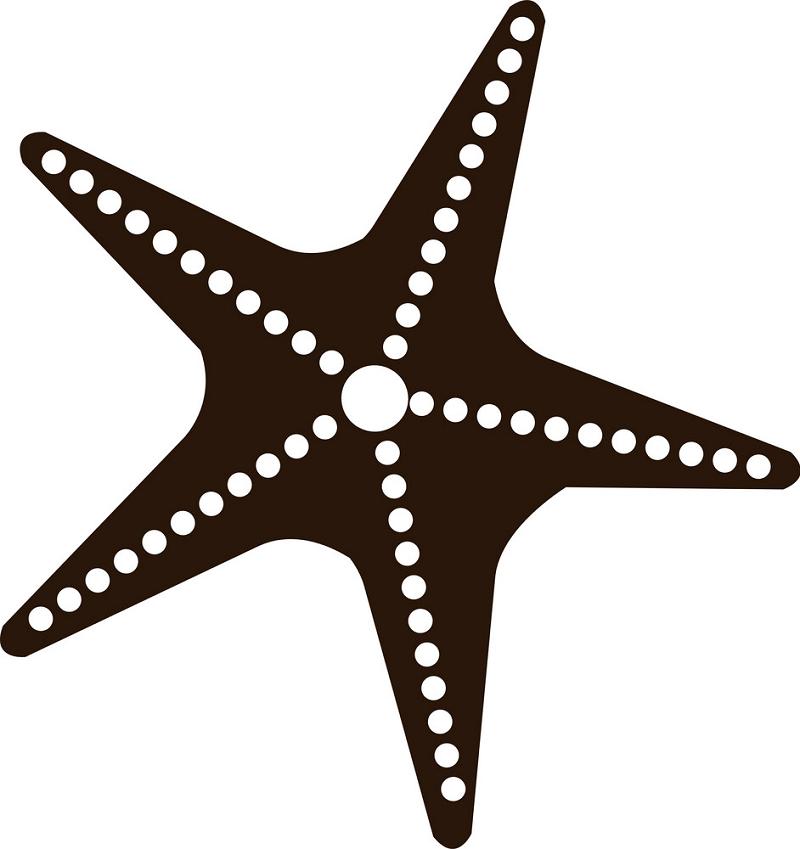 Black and white starfish clipart 1