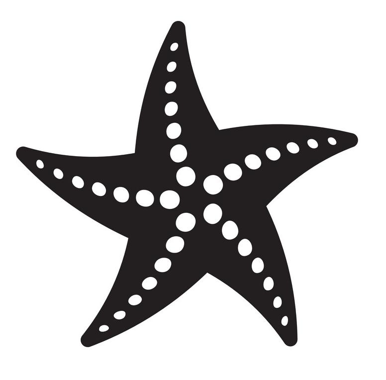 Black and white starfish clipart
