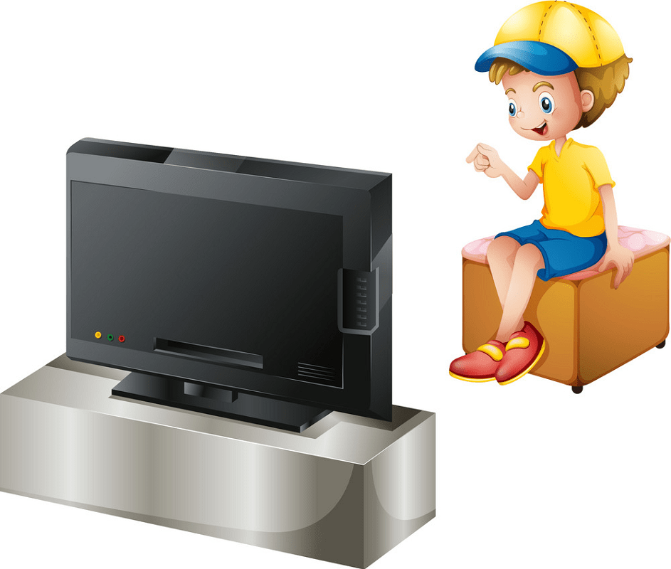 Boy watching TV clipart