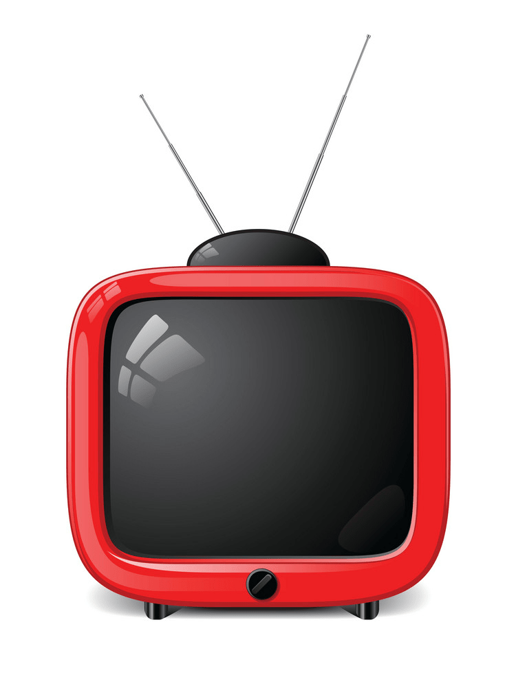 Cute red TV clipart