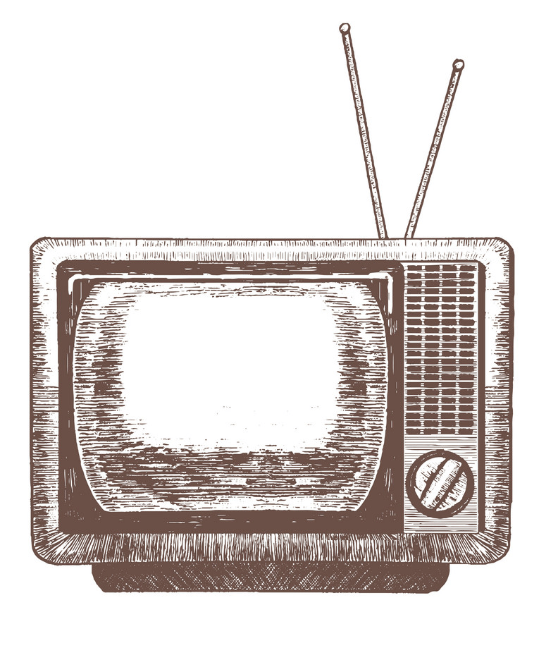 Hand drawn retro TV png