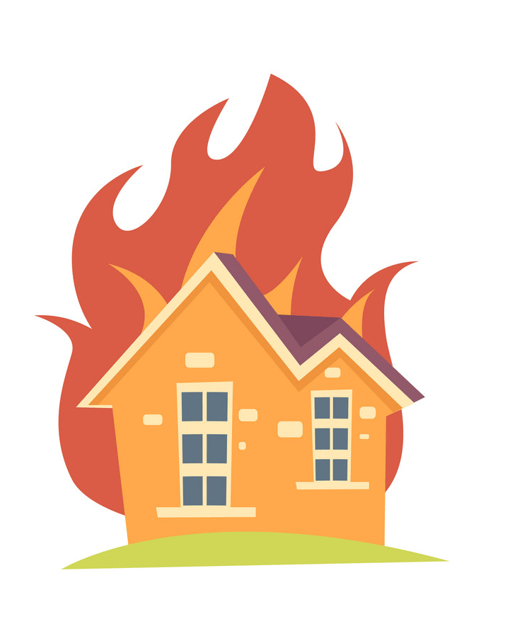 House on fire png