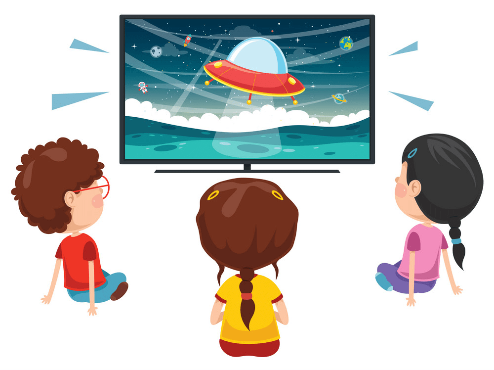 Kids watching TV clipart