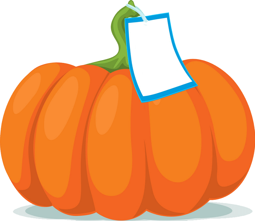 Pumpkin with label clipart transparent