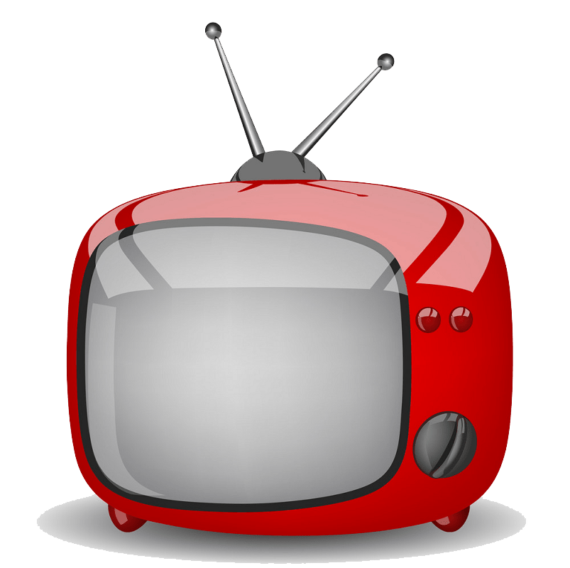 Red cute TV clipart transparent